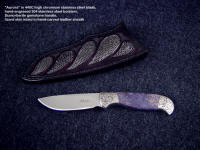 """Aurora"" fine investment grade collector's knife in 440C stainless steel blade, engraved 304 stainless steel bolsters, dumortierite gemstone handle, lizard skin inlaid in hand-carved leather sheath"