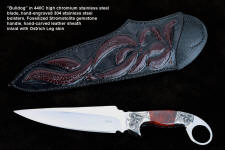 """Bulldog"" obverse side view in 440C high chromium stainless steel blade, hand-engraved 304 stainless steel bolsters, Fossilized Stromatolite Algae gemstone handle, hand-carved leather sheath inlaid with burgundy ostrich leg skin"