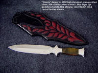 """Classic"" Dagger in mirror finished 440C stainless steel blade, 304 stainless steel bolsters, blue-gold tigereye gemstone handle, red stingray skin inlaid in hand-carved leather sheath"