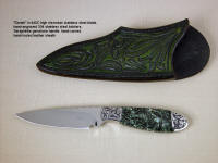 """Deneb"" obverse side view in 440C high chromium stainless steel blade, hand-engraved 304 stainless steel bolsters, Seraphinite gemstone handle, hand-carved, hand-tooled leather sheath"