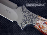 Comparison of etching and engraving on fine handmade custom knife blade and bolster