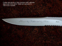 Custom personal high resolution blade etching in text on stainless steel knife blade