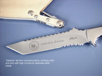 High detail, deep acid etching in stainless steel blade, mirror polished, hollow ground.