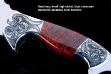 """Bulldog"" obverse side engraving detail in 440C high chromium stainless steel blade, hand-engraved 304 stainless steel bolsters, Fossilized Stromatolite Algae gemstone handle, hand-carved leather sheath inlaid with burgundy ostrich leg skin"