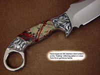 """Bulldog"" fine tactical, art knife, obverse side view in 440C high chromium stainless steel blade, hand-engraved 304 stainless steel bolsters, Indian Paint Rock gemstone handle, ostrich leg skin inlaid in hand-carved leather sheath"