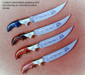 Older, Early works, Desert Storm commemorative knives with high resolution custom etching,  numbered edition knives with logos and text