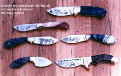 Older, early group of graphically etched knives with natural, animal, plant and classic themes
