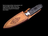 """The Kid"" dagger in  440C high chromium stainless steel blade, machine engraved 304 stainless steel bolsters, Black Petrified Palm wood gemstone  handle, and sheath, all matching in design motif"