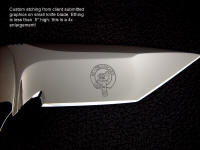 Personalized custom graphic etching embellishment on fine handmade knife blade