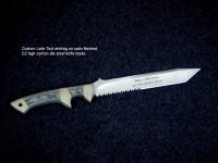 Custom latin text etching on satin finished D2 steel knife blade hollow ground, combat and tactical