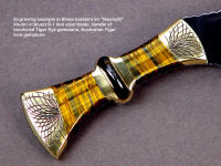 """Nasmyth"" fine khukri, obverse side view: 440C high chromium stainless steel blade, hand-engraved brass bolsters, bicolored tiger eye quartz, Australian tiger iron gemstone handle, hand-stamped leather sheath"