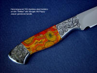 """Nekkar"" obverse side view in 440C high chromium stainless steel blade, hand-engraved 304 stainless steel bolsters, Morgan Hill Poppy Jasper gemstone handle, Ostrich leg skin inlaid in hand-carved leather sheath"