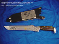 Etching and electroforming in green gold on hollow ground mirror polished knife blade of Pararescue commemorative