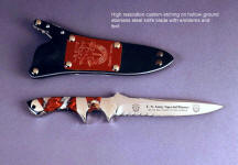 Custom high resolution knife blade etching on Special Forces commemorative combat knife