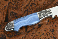 """Perseus"" reverse side view in 440C high chromium martensitic stainless steel blade, hand-engraved 304 stainless steel bolsters, blue lace agate gemstone handle, hand-carved, hand-dyed leather sheath"