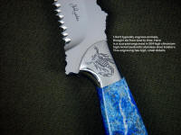 """PJLT"" in etched 440C high chromium stainless steel blade, hand-engraved 304 stainless steel bolsters, Afghanistan Lapis lazuli gemstone handle, locking kydex, aluminum, stianless steel, nickel plated steel sheath"