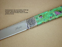 """Shaula"" ATS-34 high molybenum stainless steel blade, hand-engraved 304 stainless steel bolsters, Ruby in Fuchsite gemstone handle, lizard skin inlaid in hand-carved leather shoulder"