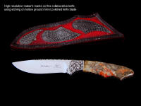 My older maker's mark with collaborative maker Gerry Hurst's maker's mark on mirror polished hollow ground knife blade