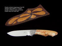 """Thuban"" in 440C high chromium stainless steel blade, hand-engraved 304 stainless steel bolsters, Antelope Jasper gemstone handle, shark skin inlaid in hand-carved leather sheath"
