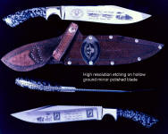 Detailed, wide coverage etching in high resolution on fine handmade commemorative Vietnam Veteran's knife blade