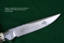 Custom etching and personalization in hollow grind of custom knife blade
