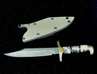 """Alamo"" Bowie Knife, commemorative, in etched 440C high chromium stainless steel blade, hand-engraved brass fittings, quartz with pyrite gemstone, ebony, brass, red fiber spacer handle, locking kydex, aluminum, stainless steel sheath"