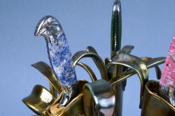 """Antheia"" Blue Willow Sodalite gemstone handle detail in cast bronze unique knife sculpture"