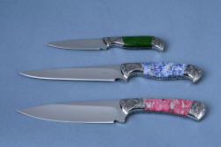 """Antheia"" knives: (top to bottom) ""Corymbus"" paring knife, ""Eridanus"" boning and trim knife, ""Cygnus"" Sabatier knife"