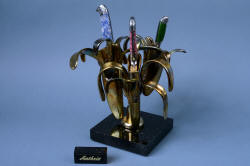 """Antheia"" custom handmade knife sculptural chef's set trio with cast bronze and granite stand."