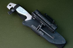 """Arctica"" sheathed view. Sheath is the best combat sheath made, positively locking in all darkened stainless steel, anodized aluminum and kydex, completely waterproof"