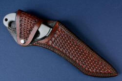 """Arcturus"" sheathed view, leather sheath. Sheath flap protects handle, secures knife, avoids cutting edge when open, secured with nickel plated steel snap"