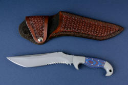 """Arcturus"" obverse side view with leather sheath. Sheath is double row stitched at the welts for supreme durability, snap flap secures knife and protects handle"