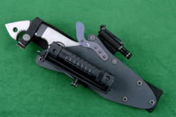 """Ari B' Lilah"" Custom Counterterrorism Tactical Combat Knife, sheathed view in hybrid tension-locking sheath with HULA and MagTac flashlight, Maglite Solitaire LED in Ultimate Belt Loop Extender"