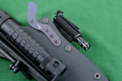 """Ari B' Lilah"" Custom Counterterrorism Tactical Combat Knife, hybrid tension-lock sheath details, anodized titanium spring lock, all blackened stainless steel fasteners, anodized aluminum components throughout"