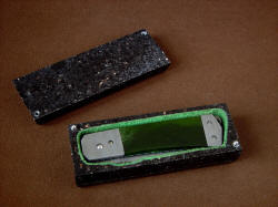 """Aries"" view in granite case. Case is lined with green suede leather for protection of knife"