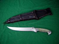 Astarion in 440C stainless blade steel, 304 stainless steel bolsters, Nephrite Jade, Moss Agate gemstone handle, Ostrich leg skin sheath