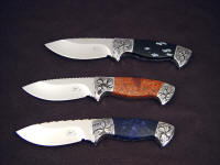 "Three ""Chama"" investment, hunting knives in 440C stainless steel blades, hand-engraved low carbon steel bolsters, Sodalite, Copper Ore, Snowflake Obsidian gemstone handles"