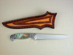 """Eridanus"" reverse side view. Note full panel inlays of elephant skin on back of sheath, tight stitching and color matching of knife handle"