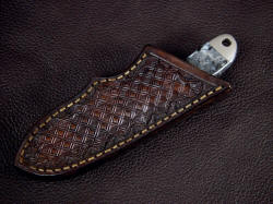 """Firefly"" sheathed view. Sheath is protective and solid, in 9-10 oz. leather shoulder, lacquered and sealed"