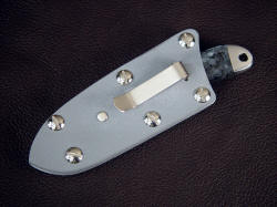 """Firefly"" kydex sheath reverse view. Sheath is mounted with a nickel silver belt/boot clip"