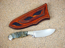 """Fornax"" reverse side view; note inlays on sheath back, colorful  handle material"