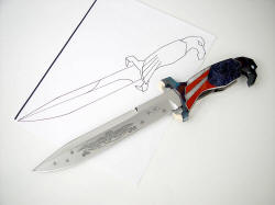 Line drawing pattern for custom knife with finished knife: Freedom's Promise