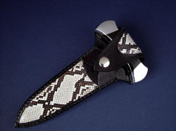 """Grim Reaper"" python sheathed view. Striking python pattern in large panel inlays in hand-carved leather sheath"