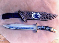 """Grizzly"" in etched 440C high chromium stainless steel blade, brass, nickel silver guard and pommel, Quartz with Pyrite gemstone, Ebony handle, hand-tooled leather sheath with scrimshawed ivory"