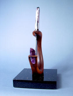 """Hestia"" fine chef's, display, investment knife stand view. Solid purple amethyst gemstone is removeable."