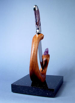"""Hestia"" knife in display stand: American black walnut knife stand is hand-carved, finely oil finished and waxed."