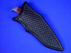 """Hooded Warrior"" sheathed view. This is a deep, solid and protective knife sheath that allows easy access to the rear bolster hawk's bill quillon."