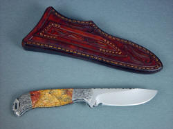 """Izar"" reverse side view. Note full bolster fine detail engraving, hand-carving on knife sheath back and loop"
