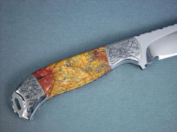 """Izar"" custom handmade knife, reverse side view. Engraving matches fine and delicate lines in the jasper pattern"