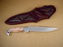 """Kapteyn"" reverse side view of knife: note fine grind, full tooling and inlays  on rear of knife sheath"
